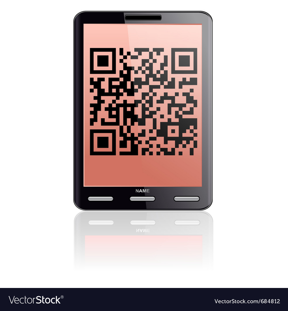 Tablet computer with qr code vector image