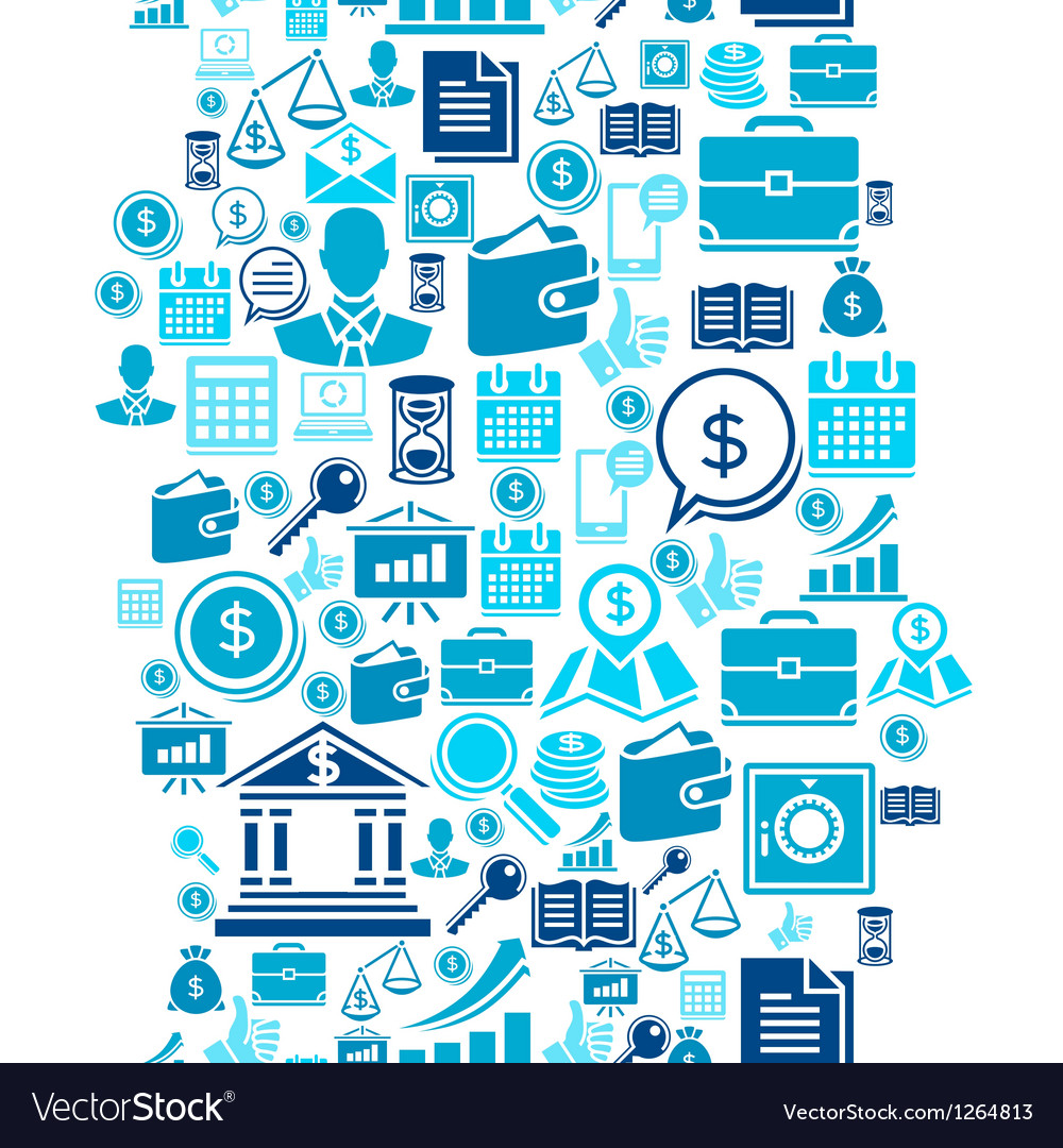 Seamless pattern of the business icons vector image