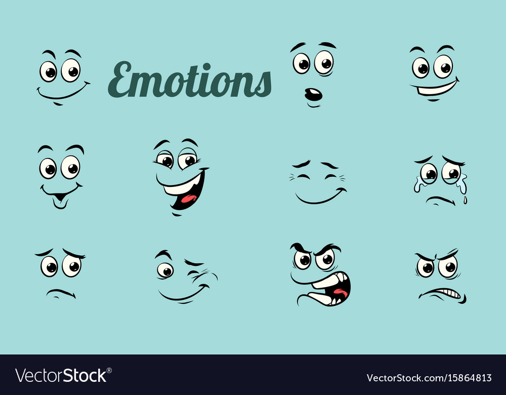 Emotions characters collection set vector image