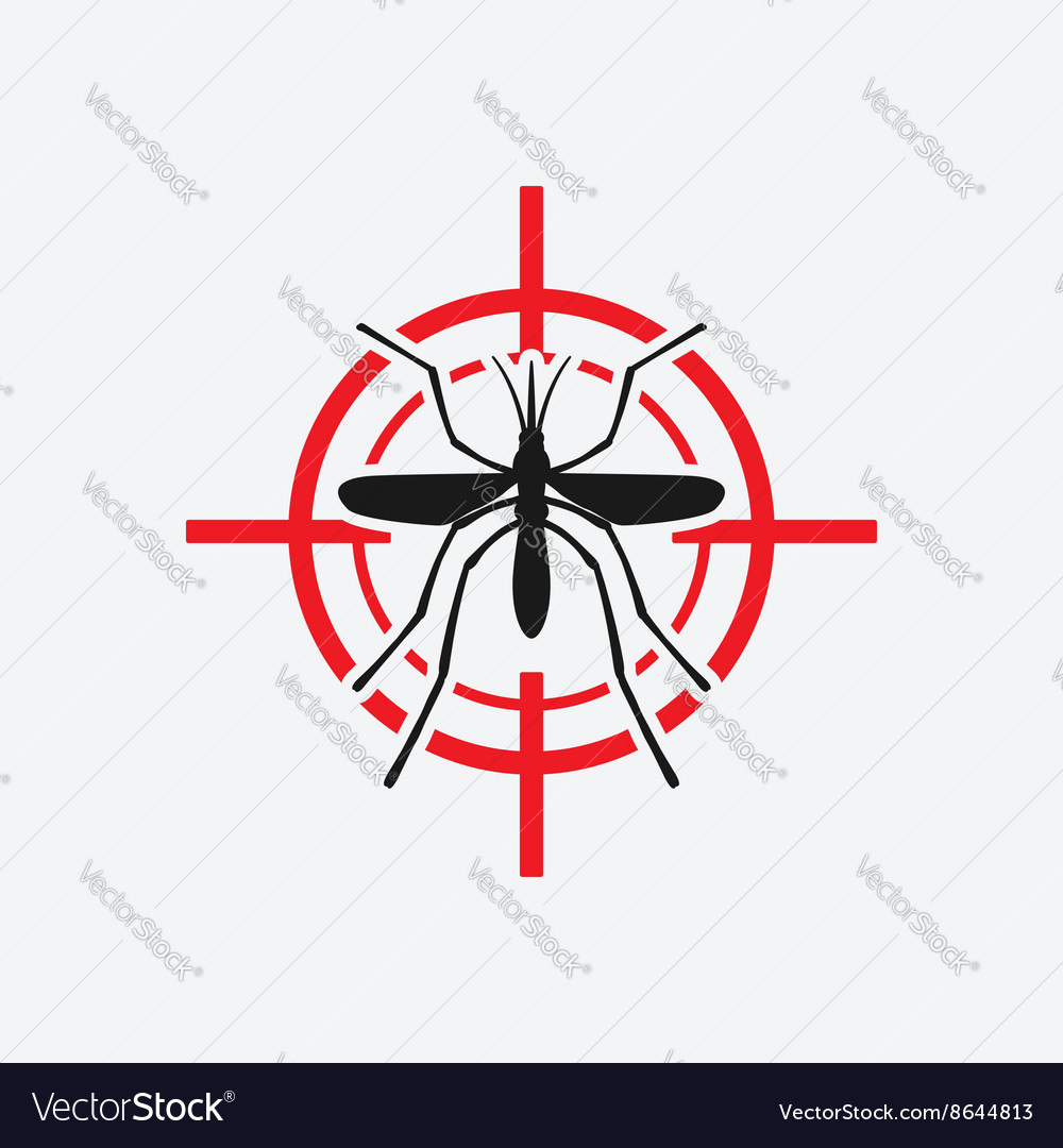 Mosquito icon red target vector image