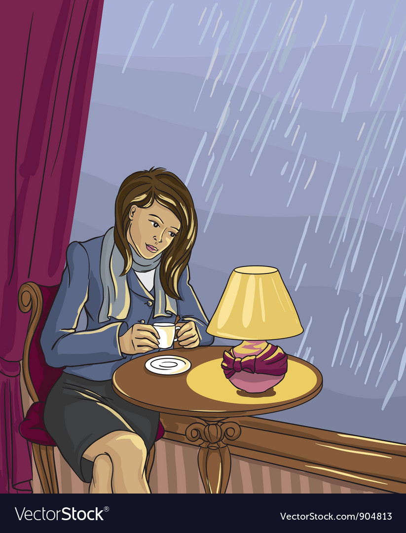Pretty woman drinking tea in cafe vector image