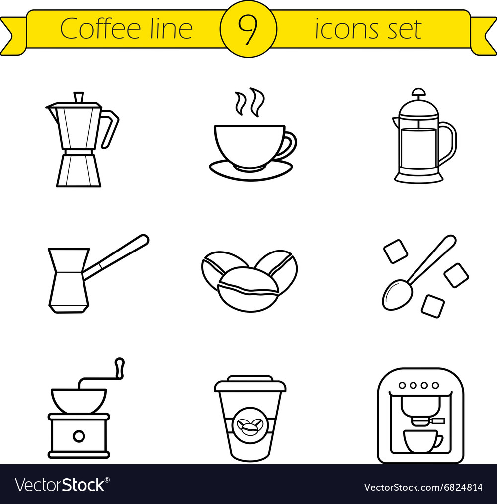 Coffee linear icons set vector image