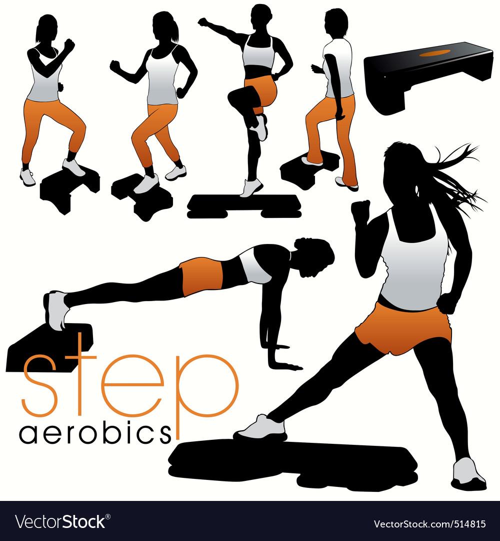 Step aerobics vector image