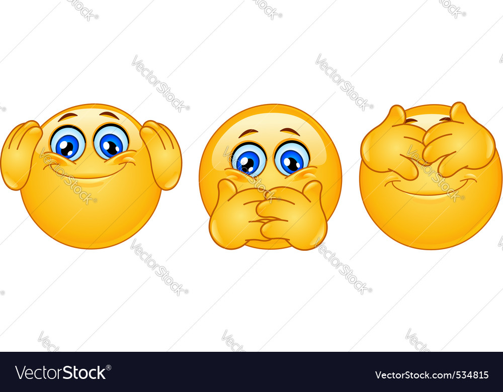 Three monkeys emoticons vector image