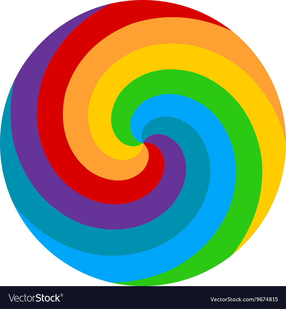 Rainbow round spiral circle background Lollipop vector image