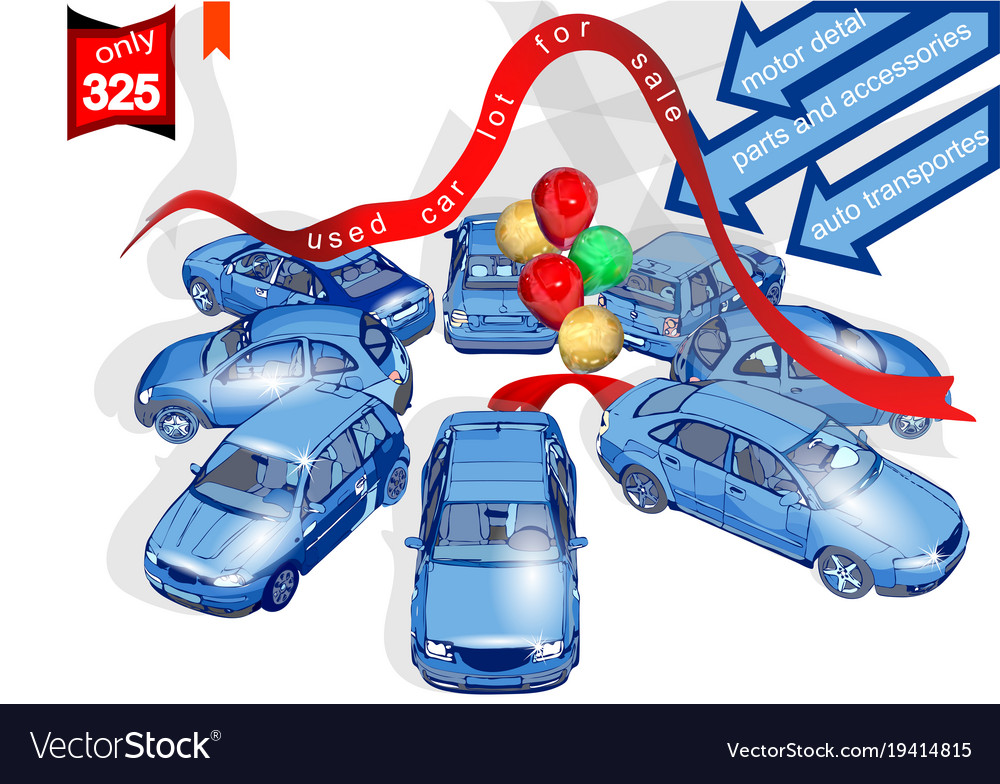 Used car lot for sale Royalty Free Vector Image