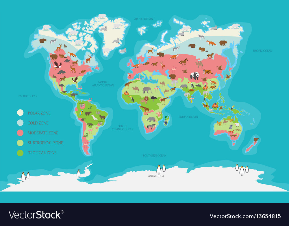 World Map Climate Zone And Animal Royalty Free Vector Image - Climate world map