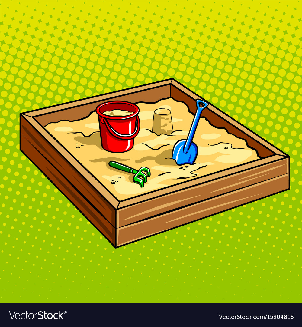 Sandpit for children pop art vector image