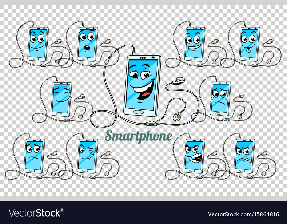 Smartphone headphones emotions characters vector image