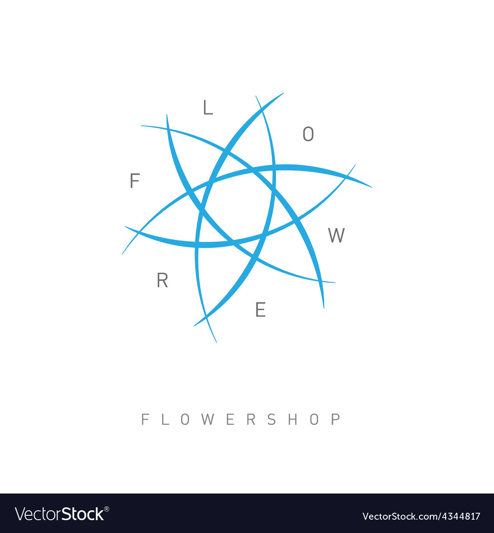 Floral logo template for Flower shop Beauty salon vector image