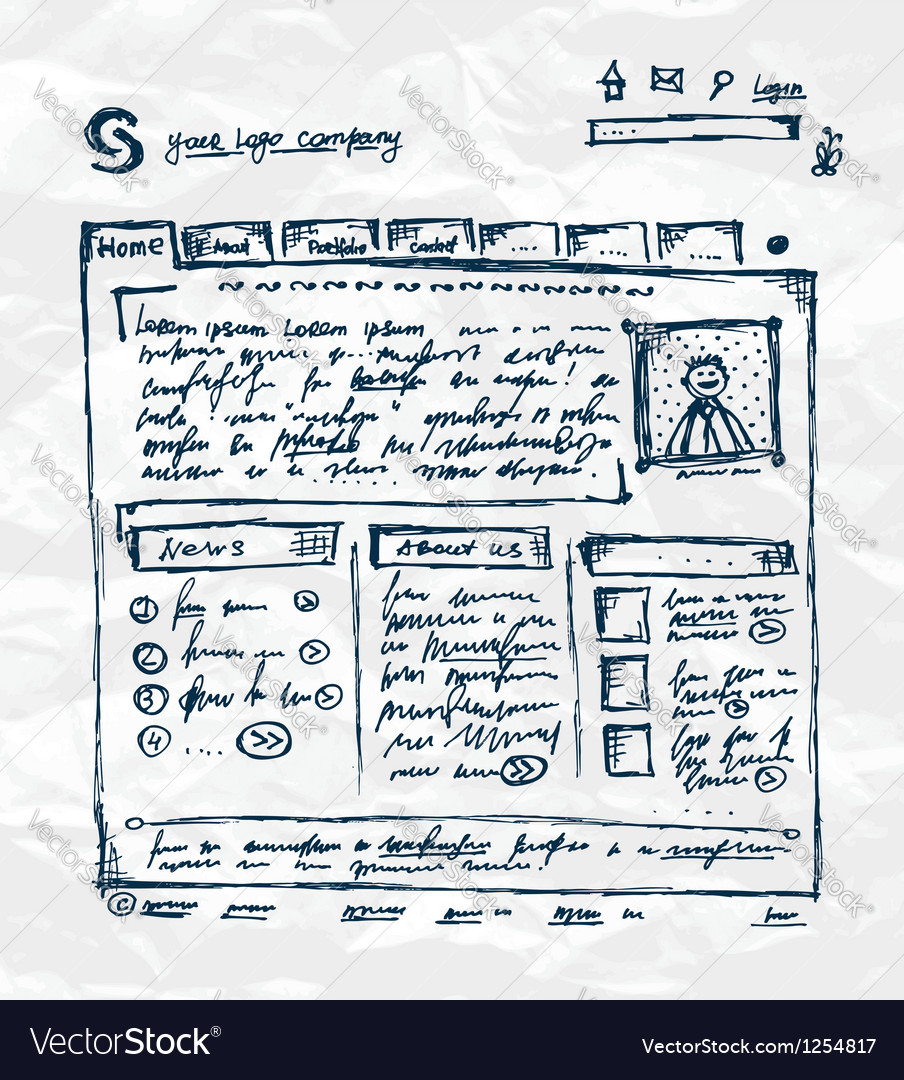 Hand drawing template of website on paper sheet vector image