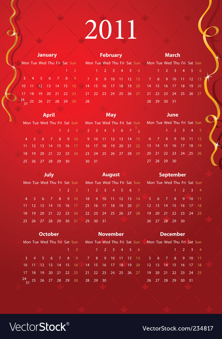 2011 calendar red. vector european red calendar 2011 starting from mondays. Keywords: