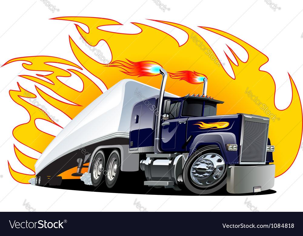 Cartoon Semi Truck Oneclick repaint vector image
