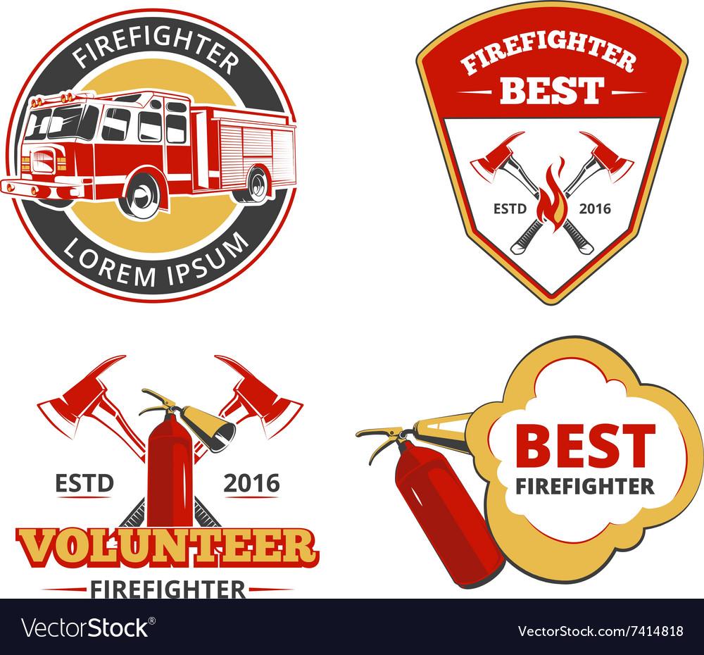 Color firefighter emblems labels and badges vector image