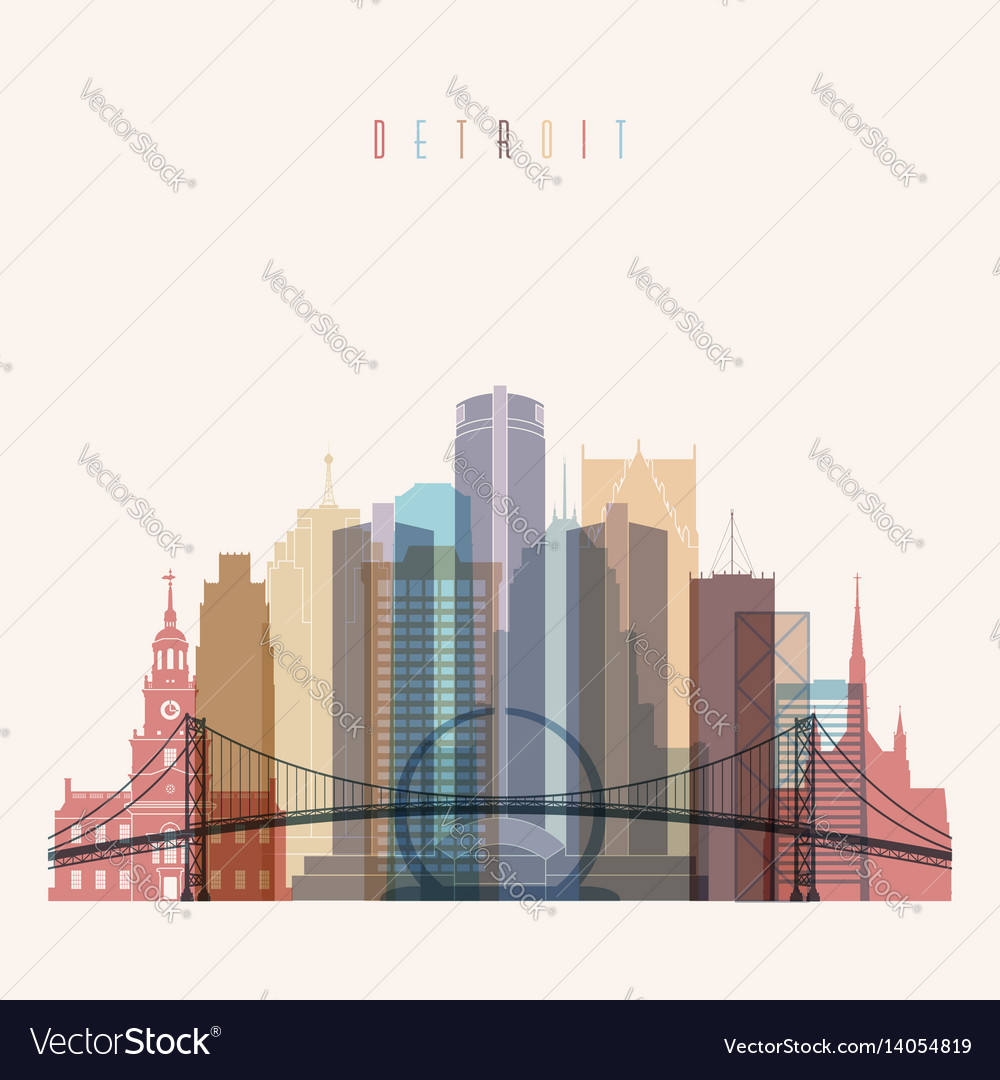 Detroit state michigan skyline detailed silhouette vector image