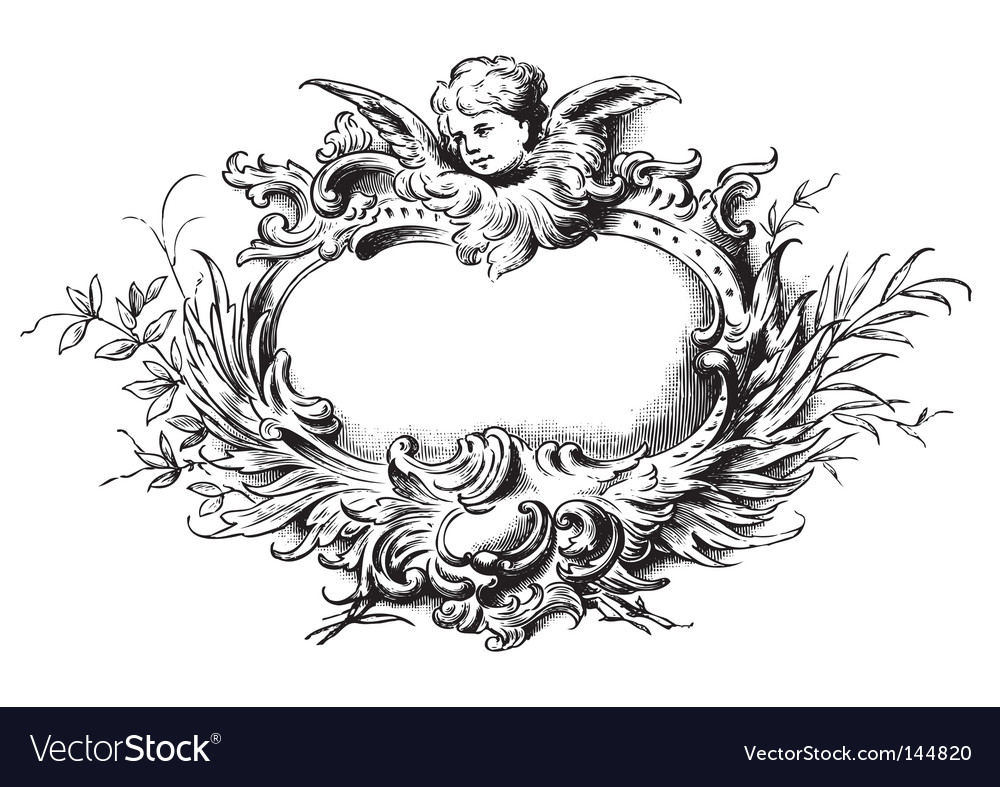 Antique floral frame engraving Vector Image