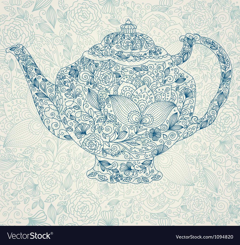 Vintage garden kettle vector image