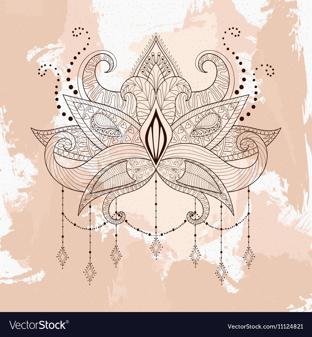 Boho ornamental lotus flower henna tattoo design vector image izmirmasajfo Image collections