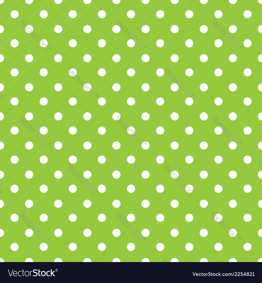 Green background polka fabric with white dots vector image