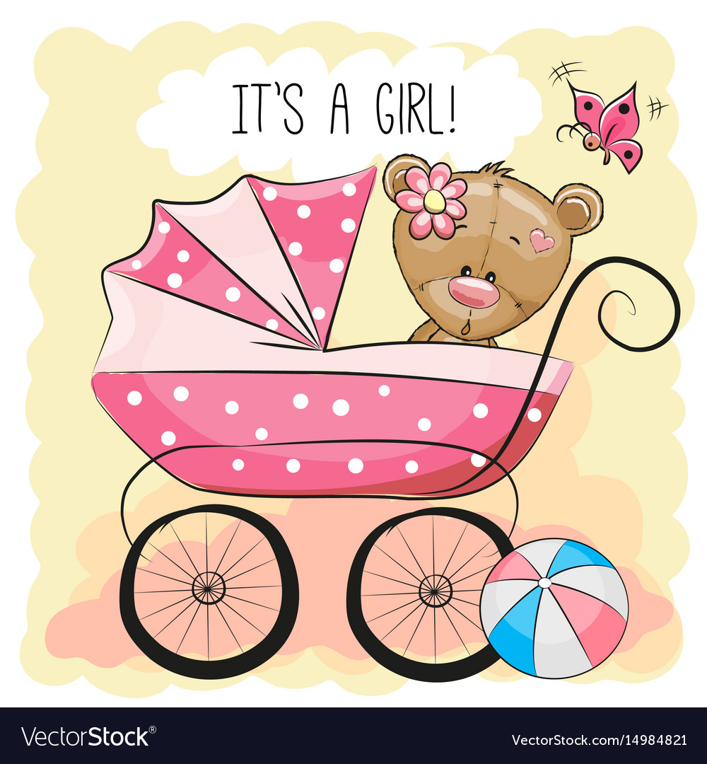 Greeting card it is a girl with baby carriage vector image