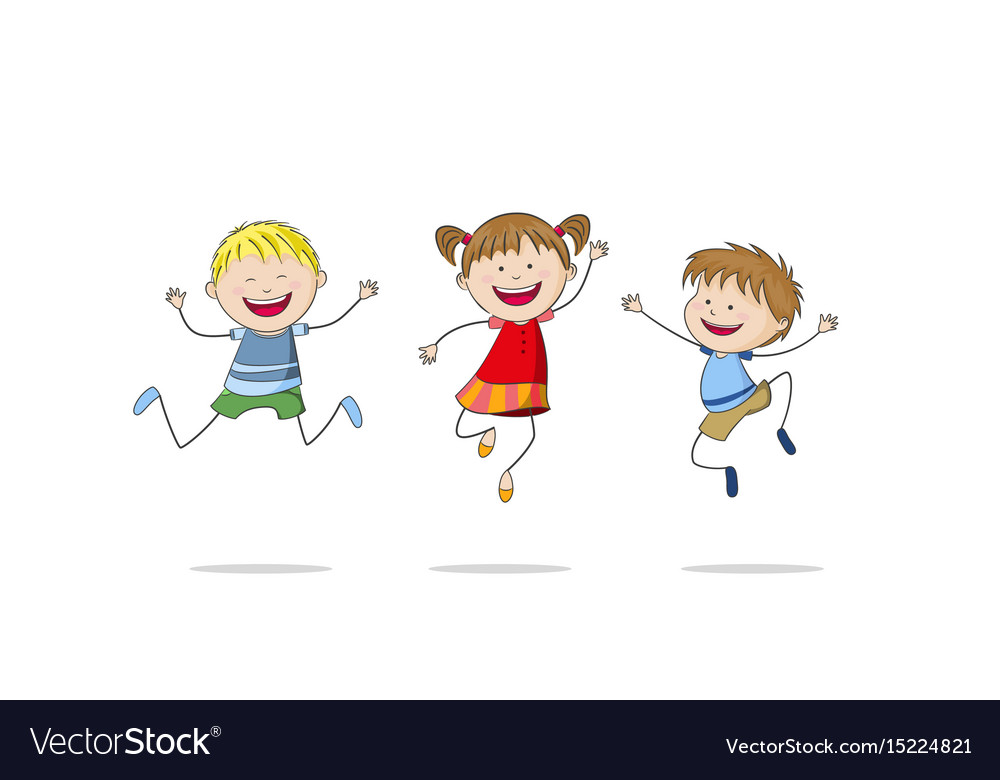 Three jumping children vector image