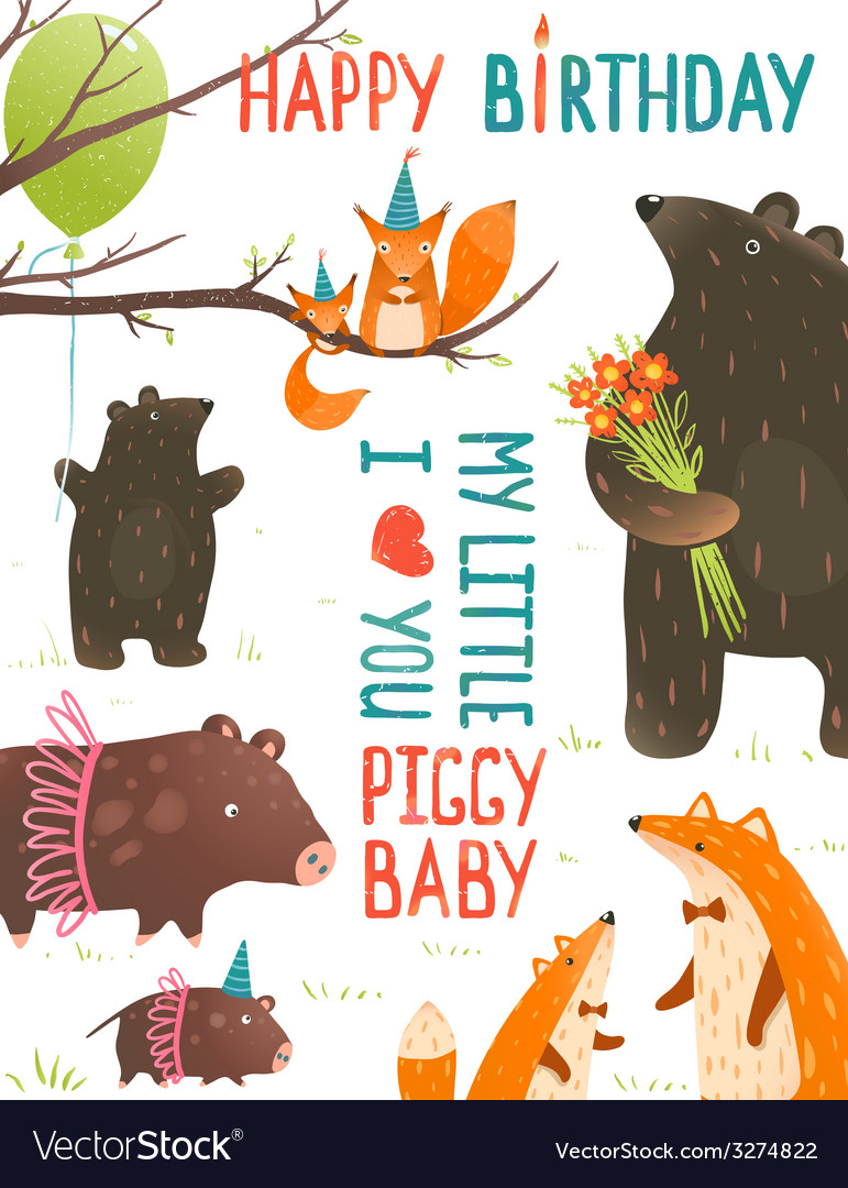 Birthday with Forest Animals Mothers and Babies vector image