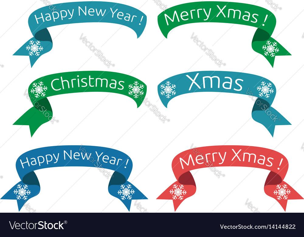 Christmas new year ribbons vector image