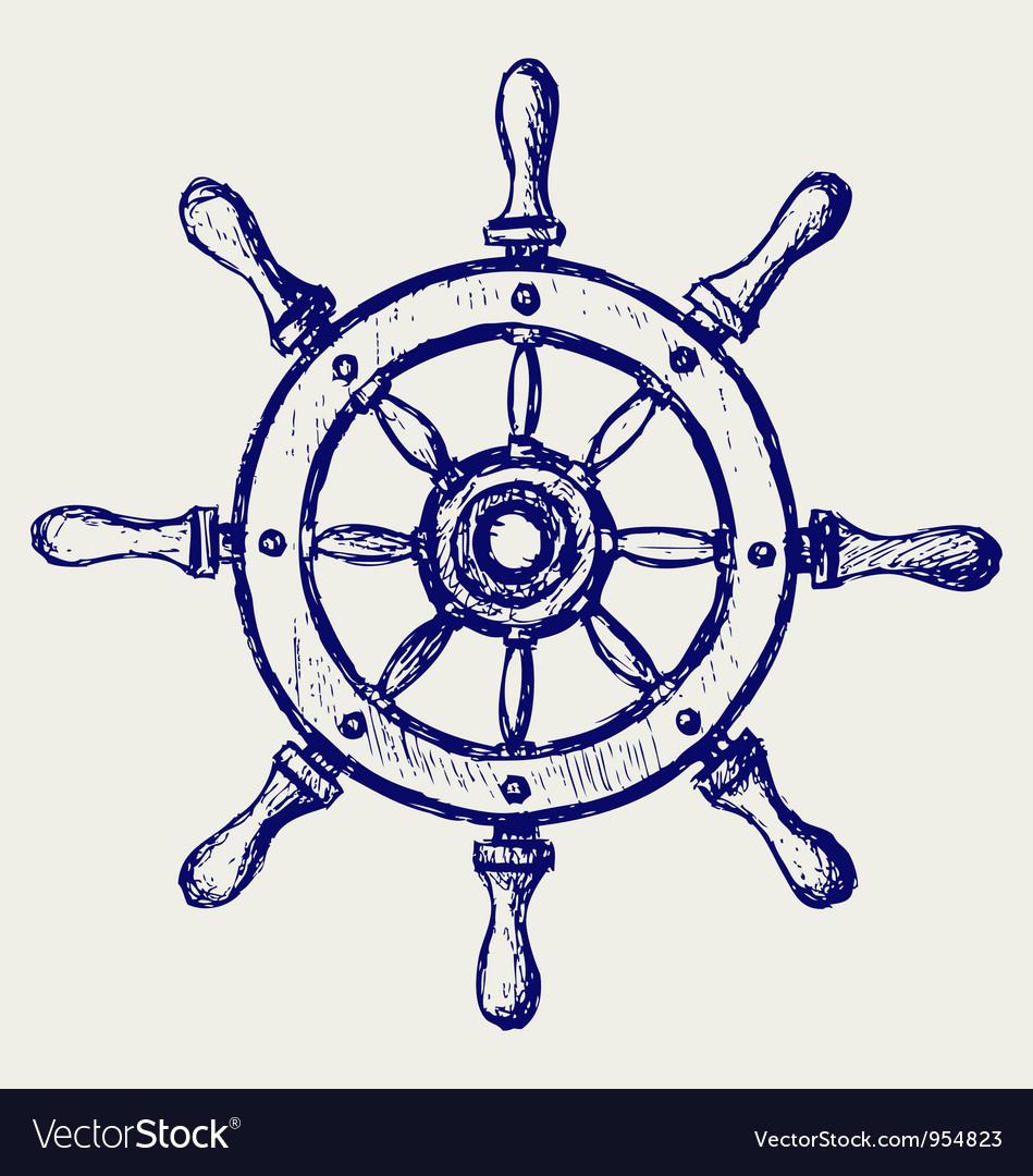 Wheel marine wooden vector image