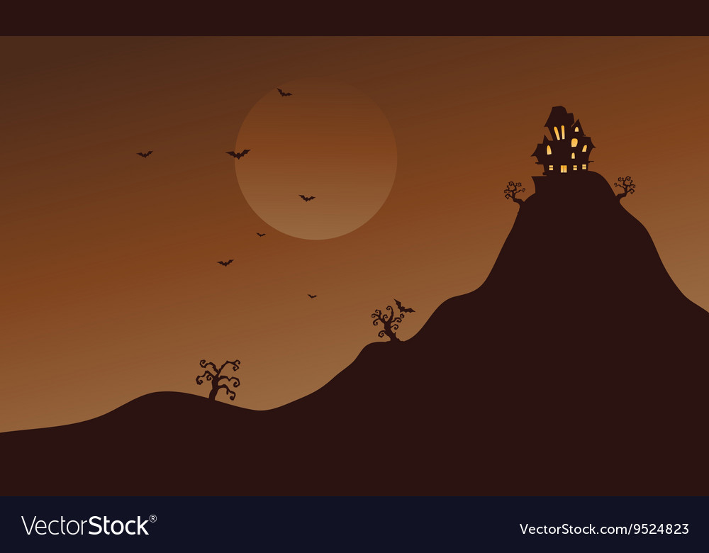 Hills and bat scenery at Halloween vector image