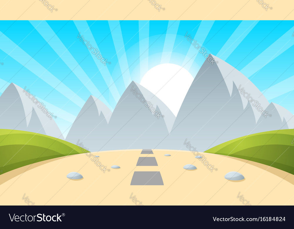 Cartoon landscape mountain sun light vector image