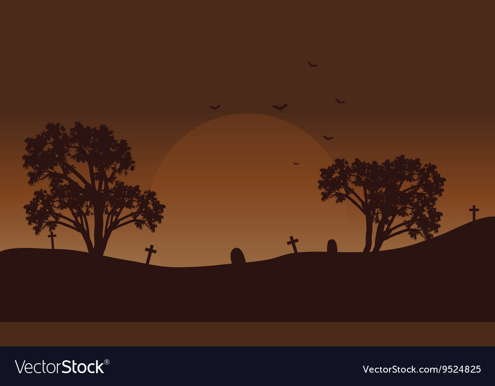 Brow backgrounds Halloween tomb and bat vector image