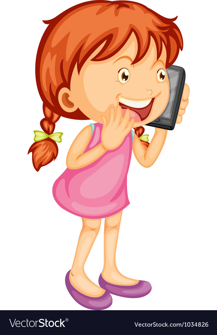 A girl talking on mobile Royalty Free Vector Image