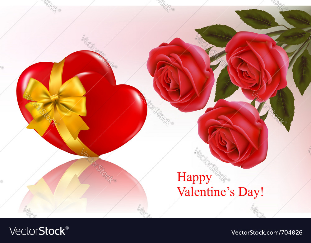 red roses and red ribbons royalty free vector image