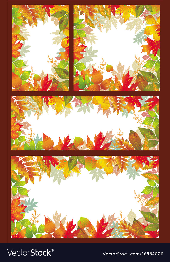Set of seasonal banner of autumnal leaves vector image