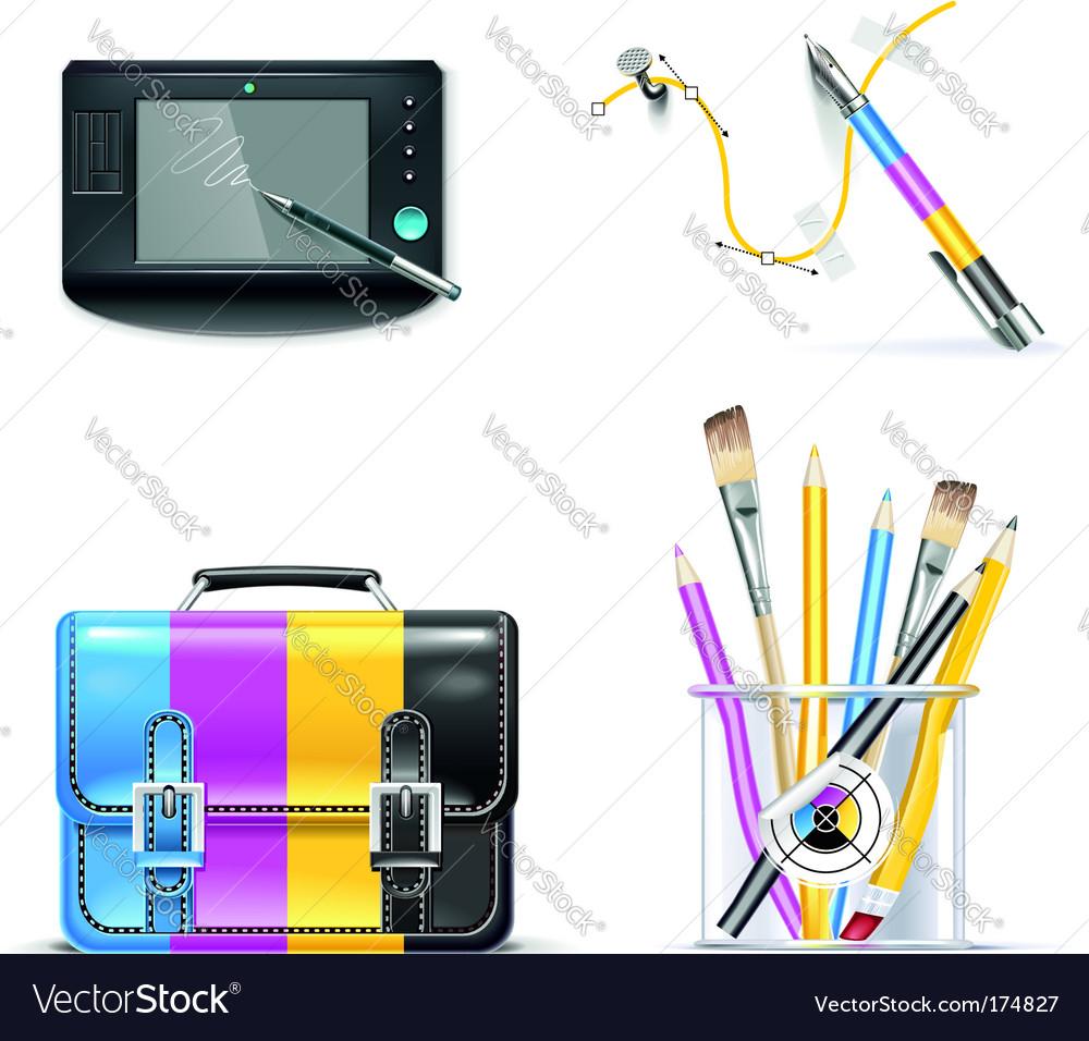 Print shop icon set vector image