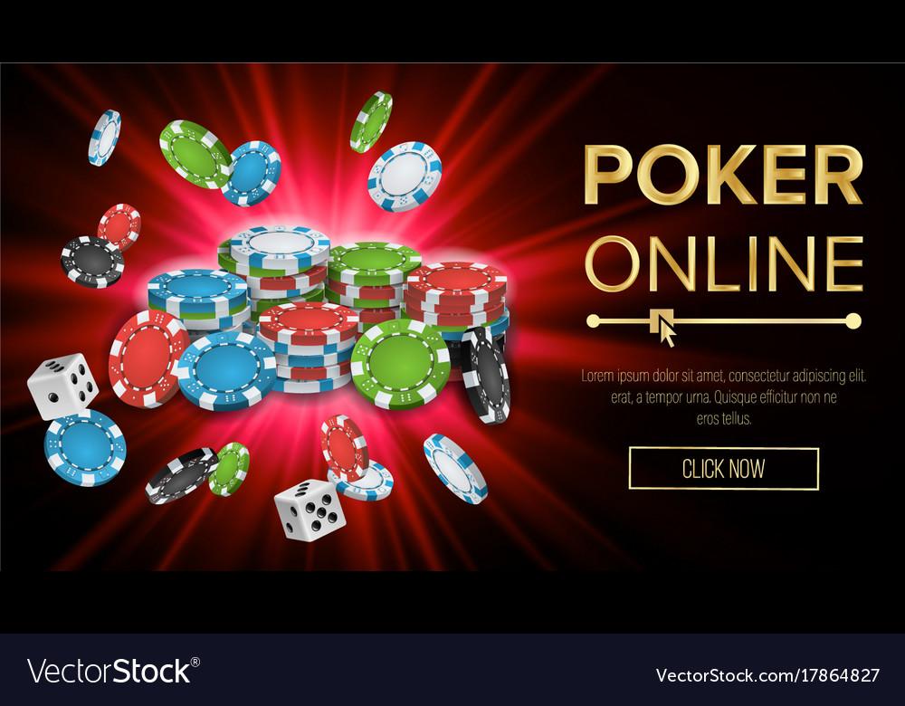 Online poker gambling casino banner sign vector image