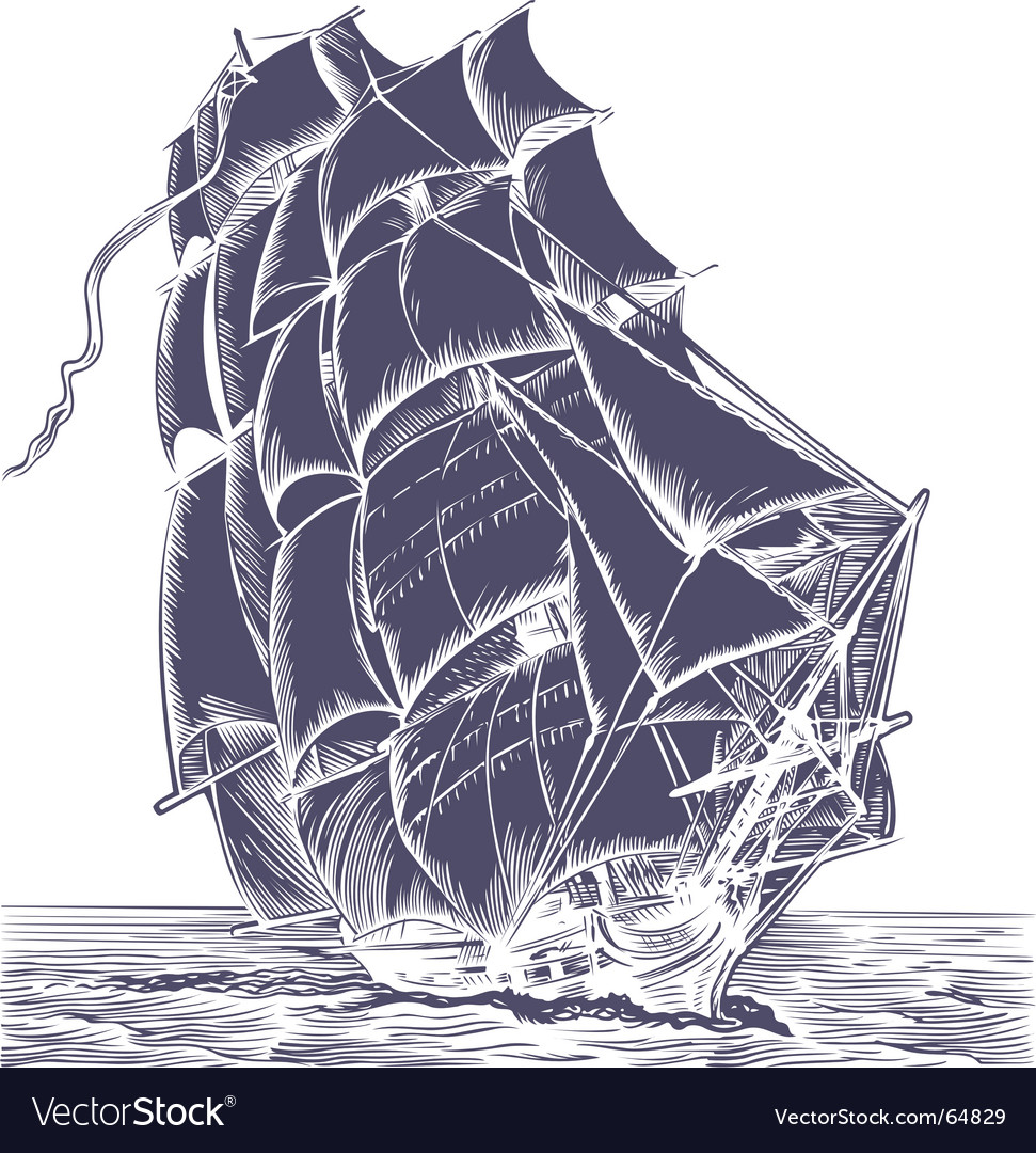 Old ship Vector Image