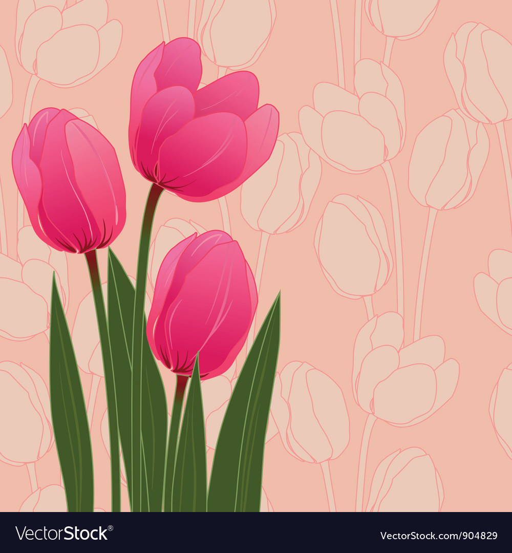 Abstract floral with tulips on blue background Vector Image