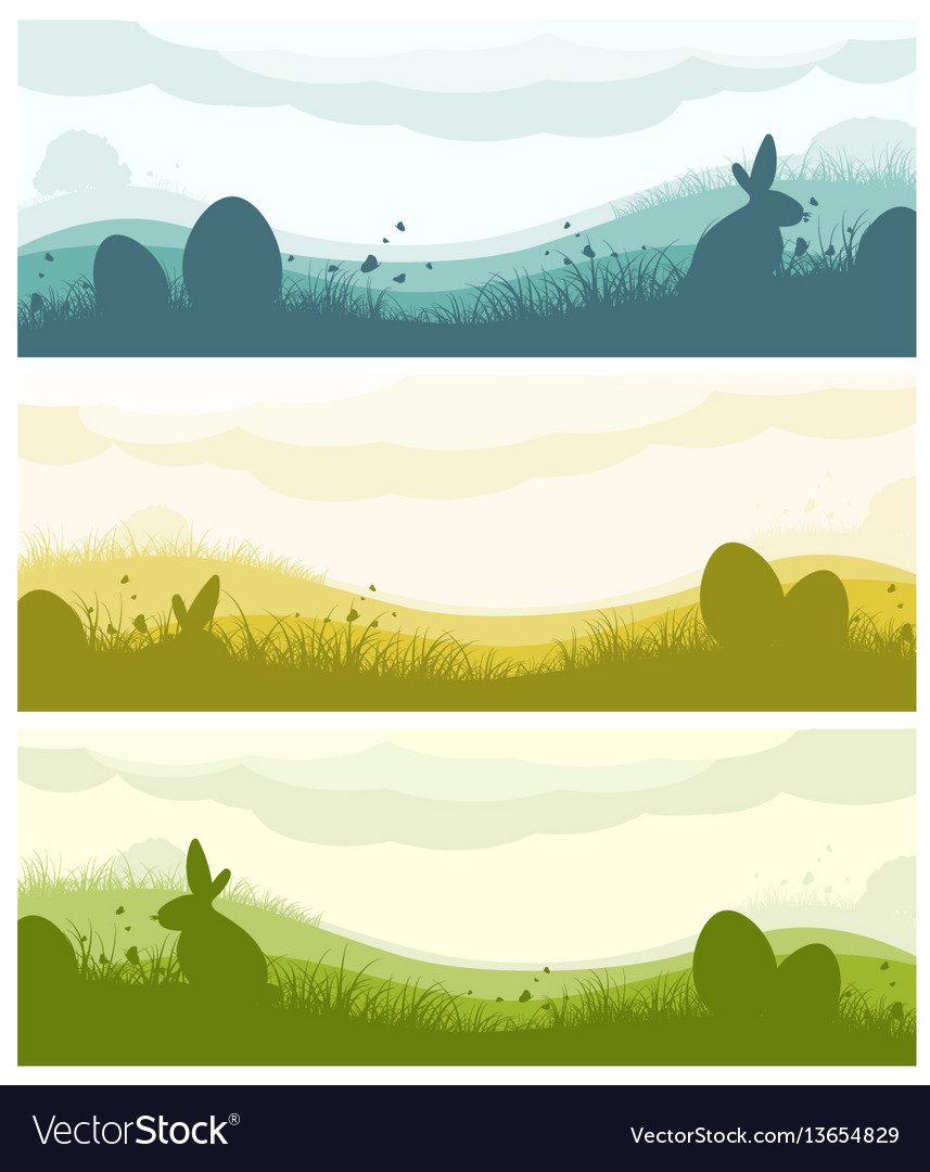 Easter banners with silhouettes vector image