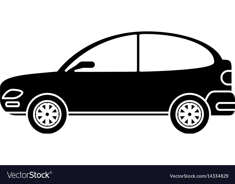 Silhouette car coupe parking lot vector image