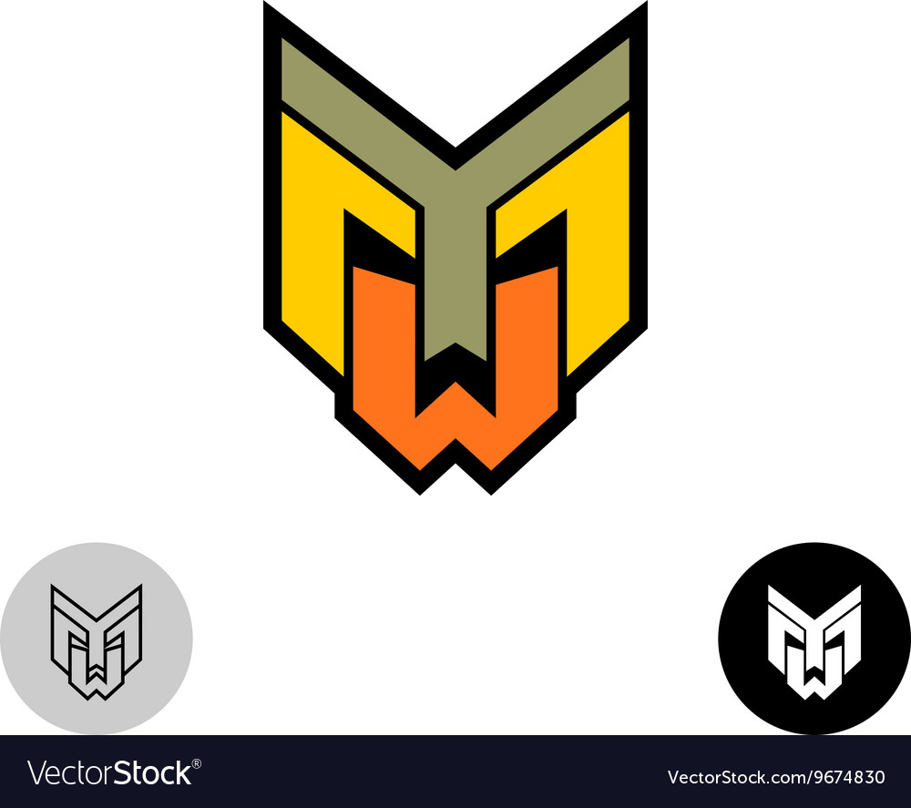 Evil daemon robot tech face logo Letters Y M and W vector image