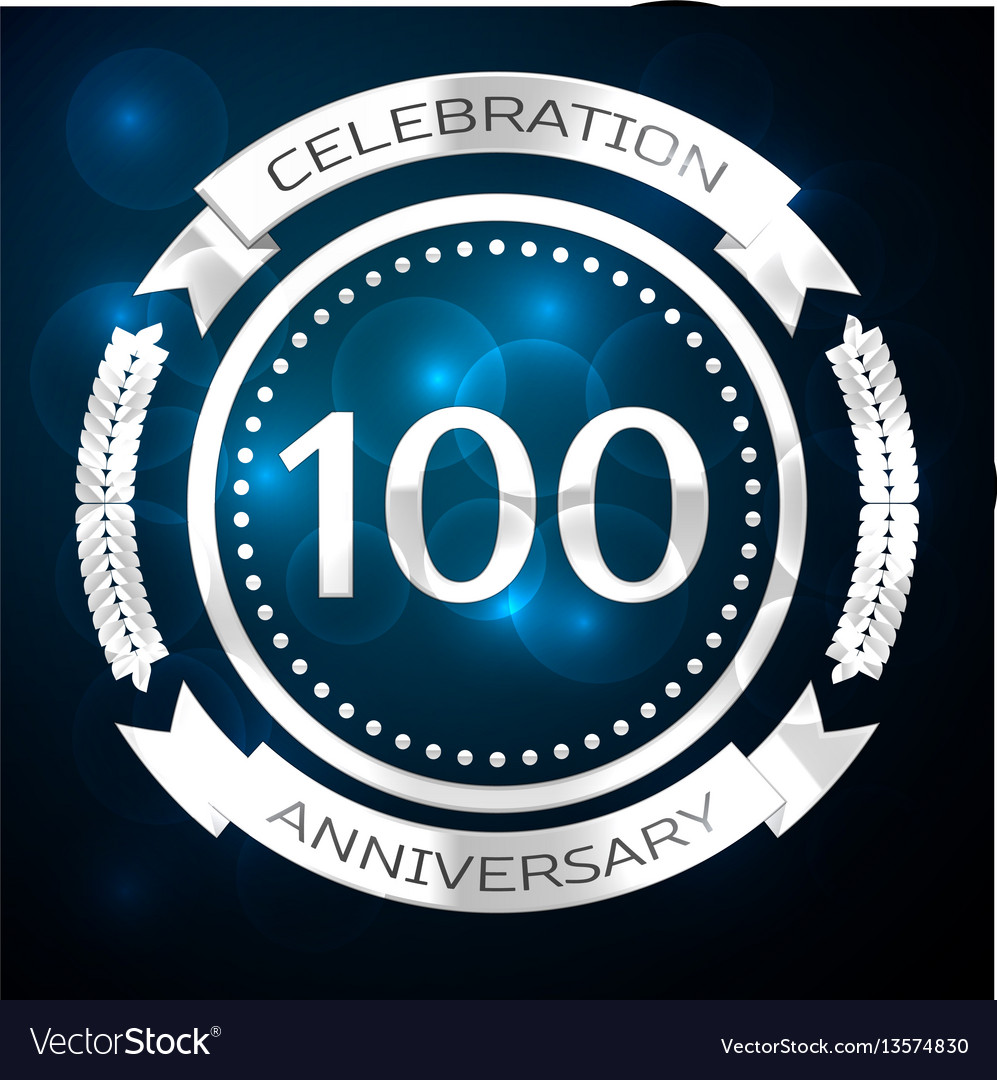 Hundred years anniversary celebration with silver vector image