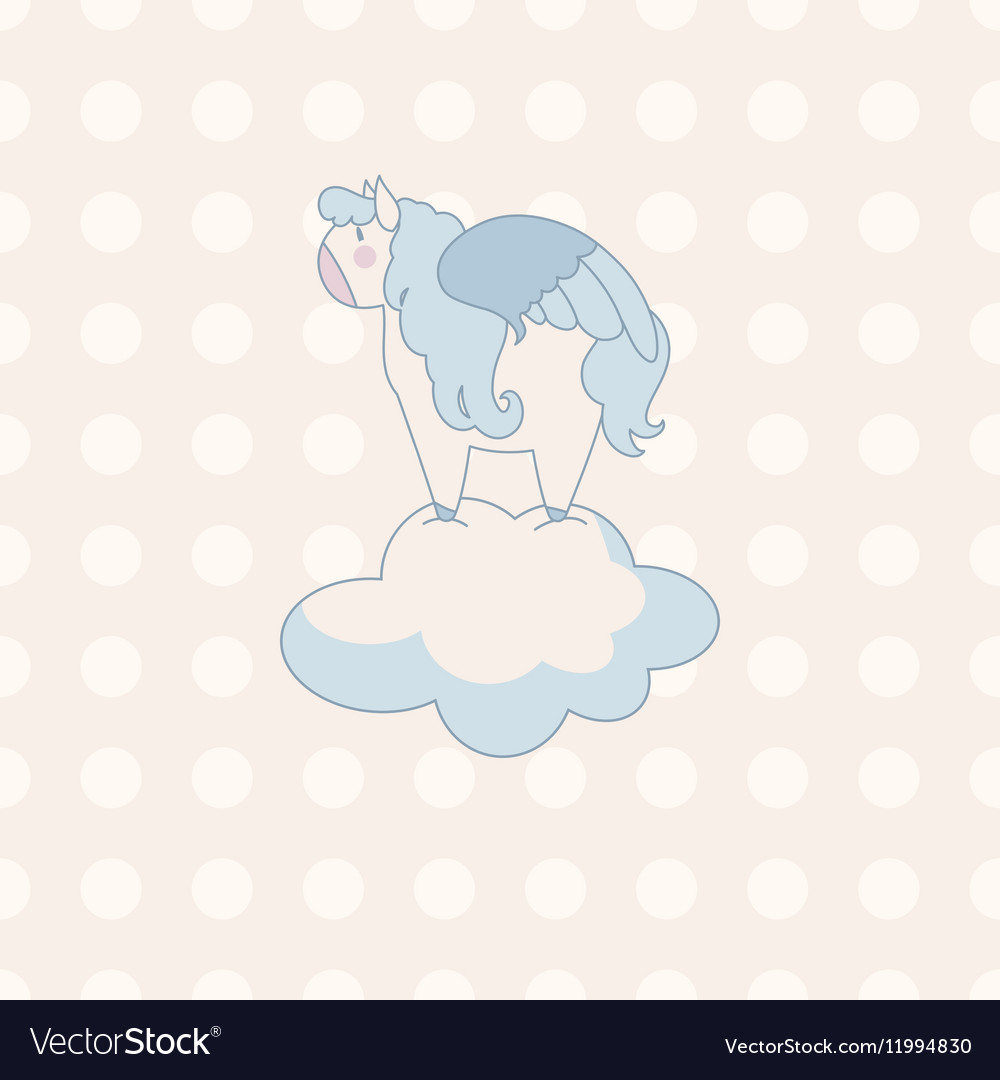 Little cute pegasus in pastel colors on a vector image