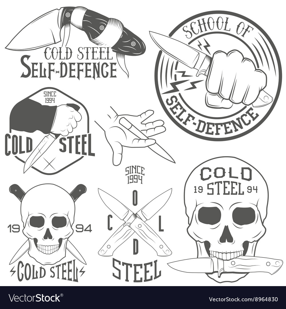 Set of emblems with human skull and knife vector image