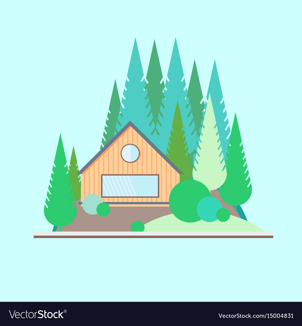 Wooden house in the woods vector image