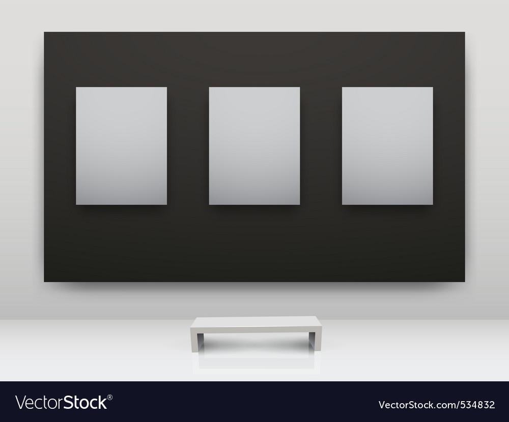 Gallery interior empty frames vector image