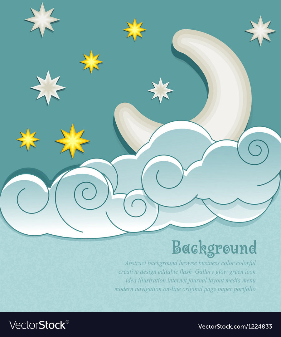 Vintage background with the moon clouds and stars vector image