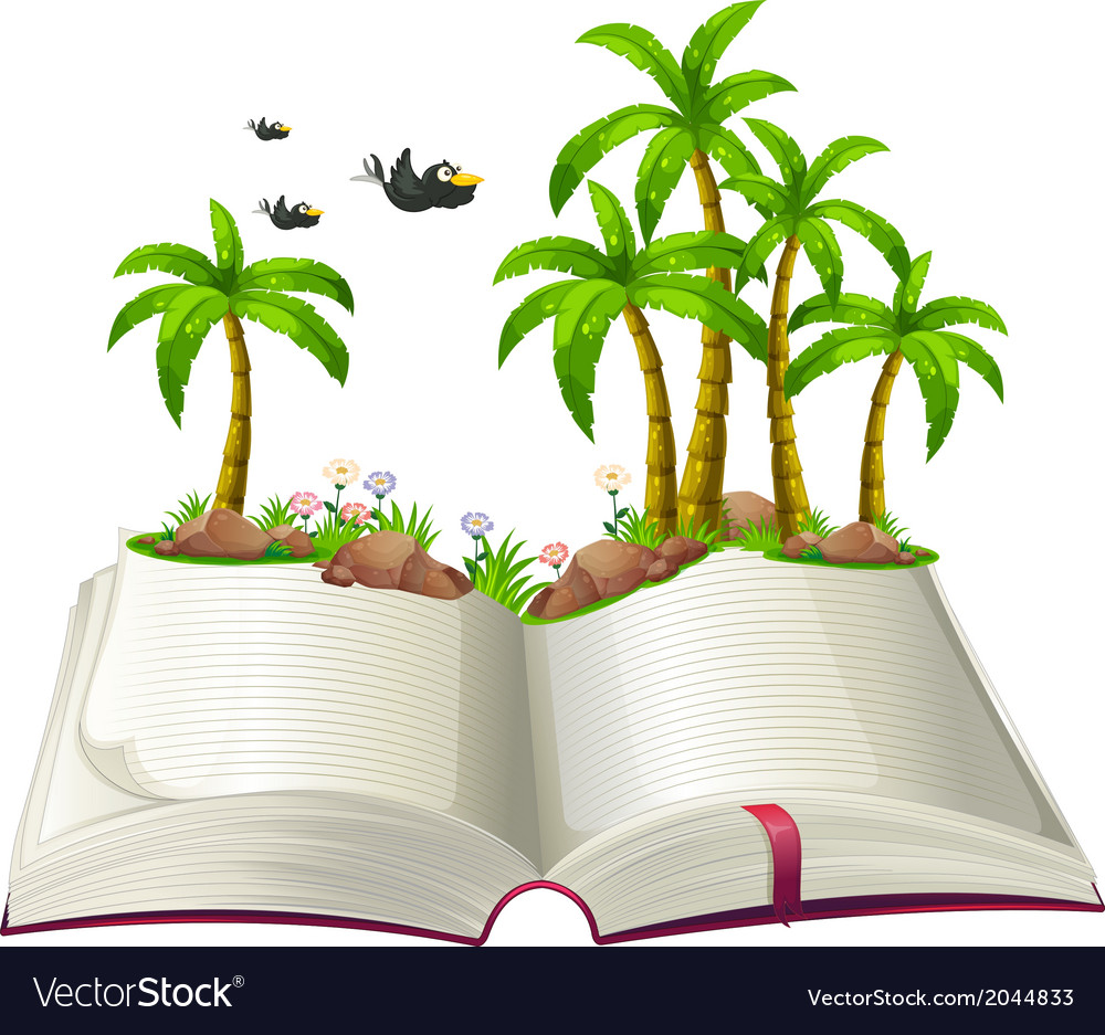 An open book with coconut trees and birds Vector Image