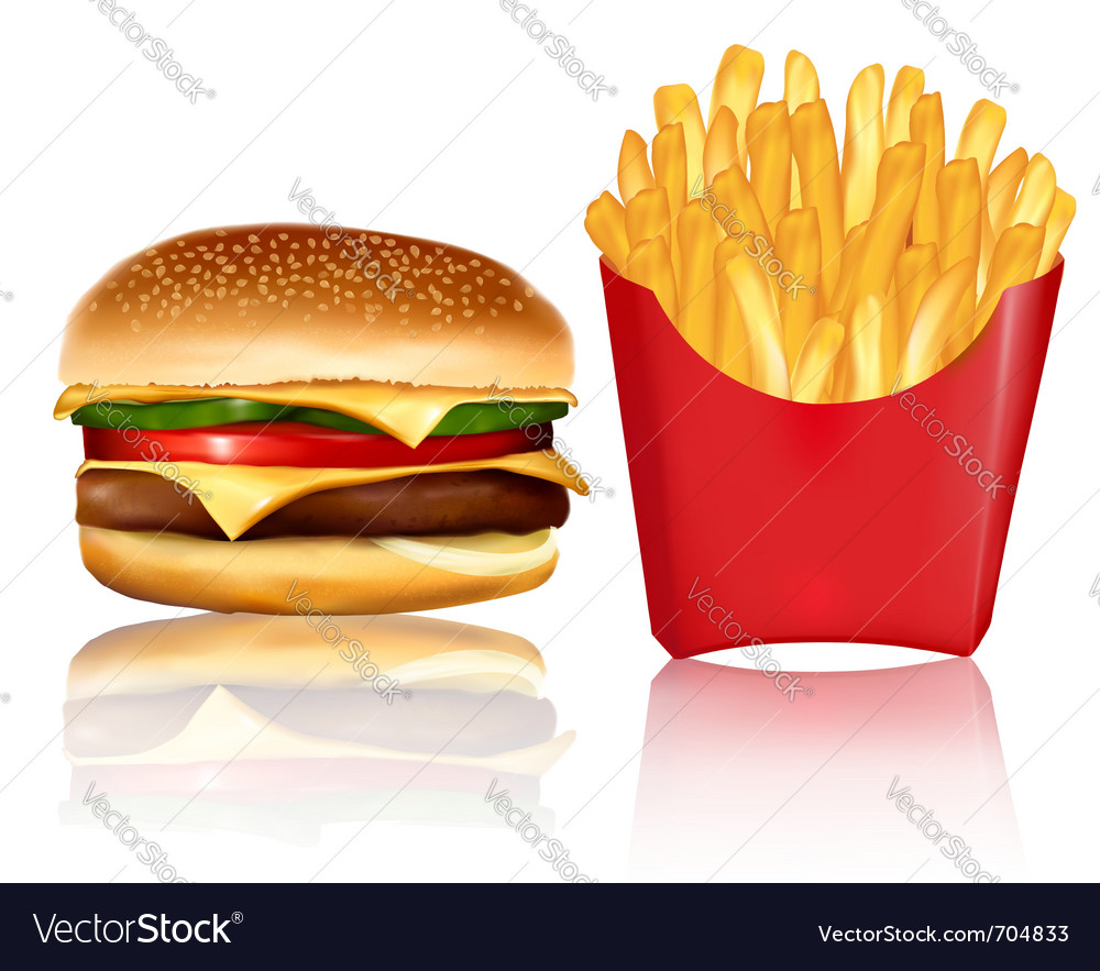 Burger and fries Royalty Free Vector Image - VectorStock
