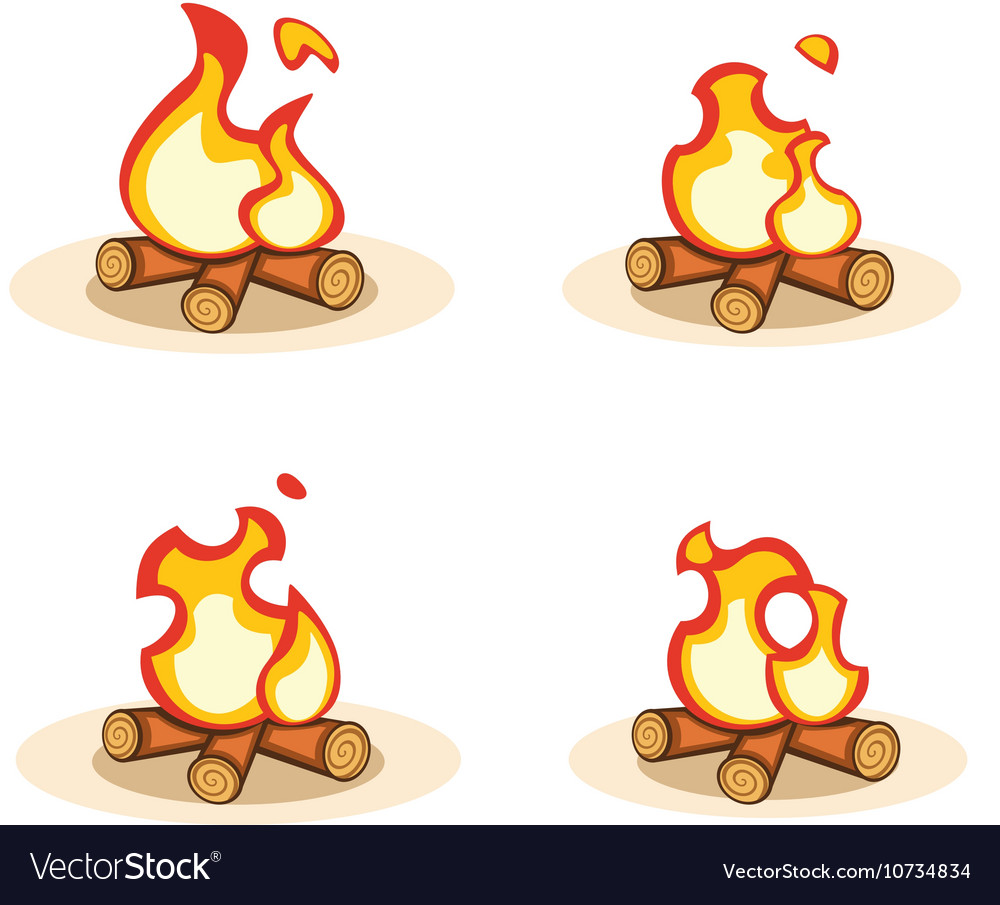 Cartoon bonfire with burning animation vector image